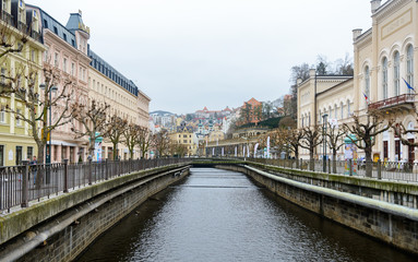 Karlovy Vary is a spa town in the Czech Republic. On the territory of the city there are 12 healing springs, with a carbon dioxide content and a water temperature of 30 to 72 degrees Celsius.