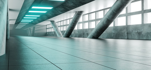 Sci Fi Futuristic Bright Alienship Modern Reflective Corridor Empty Tunnel With Concrete Tiled Floor And Concrete Big Columns And Blue Lights Technology Background Concept 3D Rendering