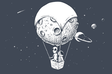 alien and astronaut travels by on aerostat