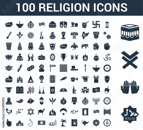 100 Religion universal icons set with Halal, Dua Hands, Reading