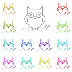 Owl on the branch icon in multi color. Simple glyph vector of halloween set for UI and UX, website or mobile application