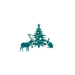 Christmas tree icon on white background with animals icon. New year, celebration, holidays, christmas.