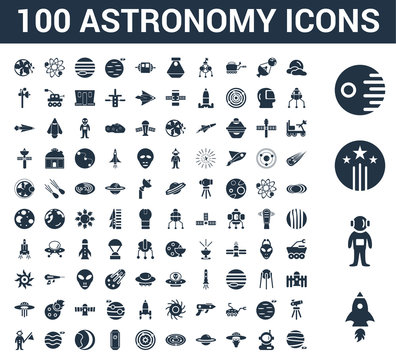 100 astronomy universal icons set with Rocket Start, Astronaut Ingravity, Shooting Star, Death Big Moon, User, UFO and Cow, Saturn, Galaxy View, Solar System