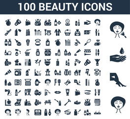 100 beauty universal icons set with Face, Legs, Moisturizer, Make up, Face cleanser, Cream, Oil, Eye, mask, Nail polish