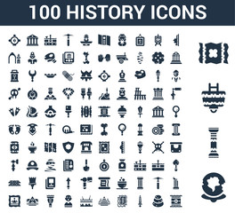 100 History universal icons set with World, Pillars, Cart, Map, Face, Stone, Sword, Old paper, Egypt, Fossil