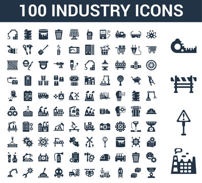 100 Industry universal icons set with Factory, Danger, Barrier, Measuring tape, Artificial intelligence, Boxes, Water tank, Conveyor, Drone, Forklift