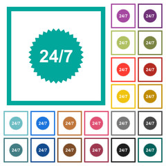 24 hours seven sticker flat color icons with quadrant frames