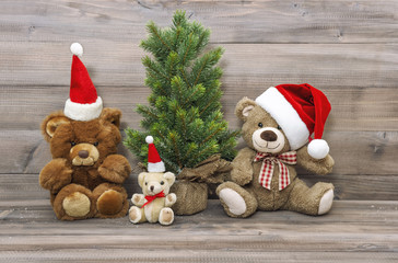 Christmas decoration vintage toys teddy bears