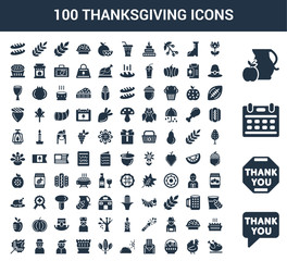 100 thanksgiving universal icons set with Thank you, Calendar, Jug, Chrysanthemum, Turkey, Fruit, Letter, Cloudy, Tree