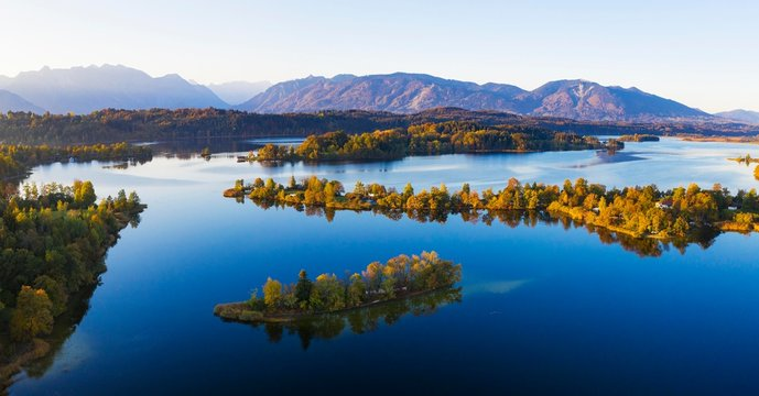 Lake Staffelsee with Gradeninsel, Buchau and Worth Islands, drone shot, Bavarian Alpine Foothills, Upper Bavaria, Bavaria, Germany, Europe