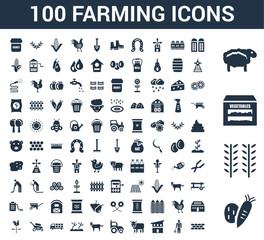 100 farming universal icons set with Vegetable, Wheat, Vegetables, Sheep, Silo, Farmer, Chicken coop, Ox, Tractor, Horse