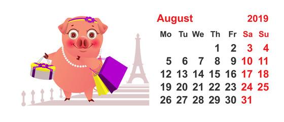 Calendar 2019 August pig female shopping in Paris vacation