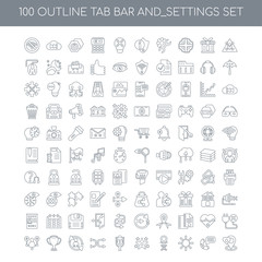 100 Tab bar and_settings outline icons set such as Warning linea