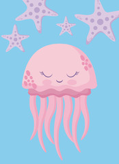cute octopus with starfish avatar character