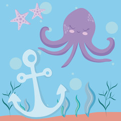 cute octopus with starfish and anchor