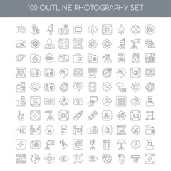 100 Photography outline icons set such as Aperture linear, Drone