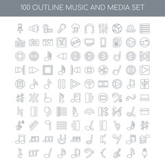 100 music and media outline icons set such as Dotted barline lin