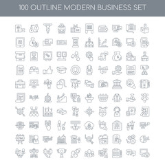 100 Modern business outline icons set such as Product linear, Ch