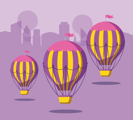 balloons air hot flying with cityscape