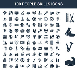 100 People Skills universal icons set with Body Building, Carpenter, Runner, Barber, Plumber, Chauffer, De, Graphic Accountant, Doctor