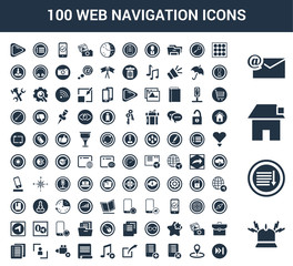 100 web navigation universal icons set with Bell, Sort down, House, Mail, Menu, Placeholder, Delete, Add, Share, Play button