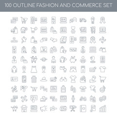 100 Fashion and Commerce outline icons set such as Best linear,