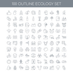 100 Ecology outline icons set such as Renewable energy linear, R