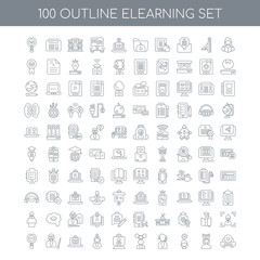 100 elearning outline icons set such as Reading linear, Learning