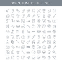 100 dentist outline icons set such as Tooth whitening linear, Ho