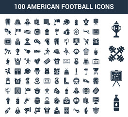 100 American Football universal icons set with Bottle of Water, Strategy, Barbell, Cup, Position, Foam Finger, Whistle, Lockers, Trainer, Jersey