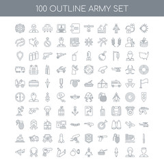 100 army outline icons set such as Explosion linear, Soldier Mis