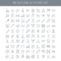 100 Activities outline icons set such as Gym linear, Cooking Sin
