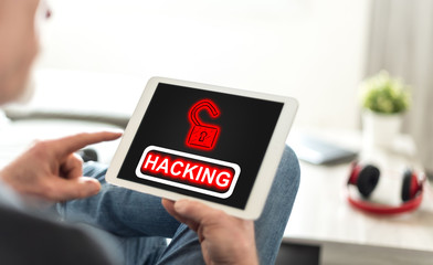 Hacking concept on a tablet