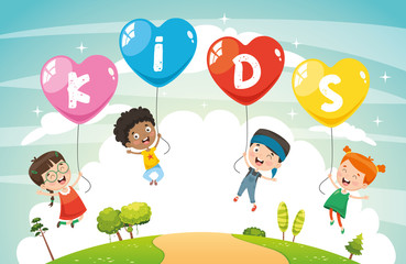 Vector Illustration Of Kids Flying With Balloons