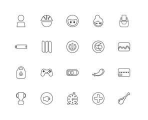 Collection of 20 user interface signs linear icons such as Block