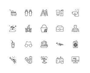 Collection of 20 travel linear icons such as Cocktail, Booking,