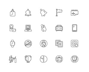 Collection of 20 Time Management linear icons such as Watch, Clo