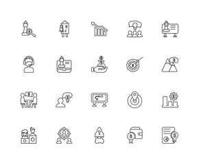 Collection of 20 Strategy linear icons such as Conference, Repor