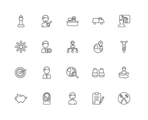 Collection of 20 Strategy linear icons such as Target, Pie chart