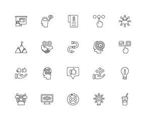 Collection of 20 Startup linear icons such as Reaction, Coffee b