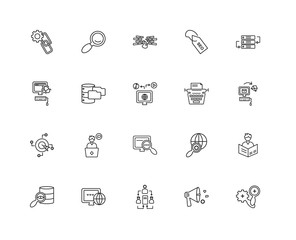Collection of 20 SEO WEB linear icons such as Target, Seo, Megap
