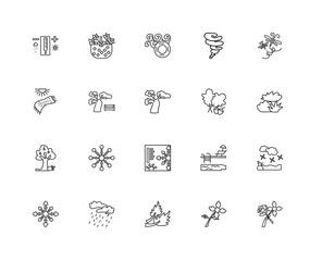 Collection of 20 Seasons linear icons such as Apple tree, Flower