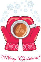 Red mittens with a coffee cup