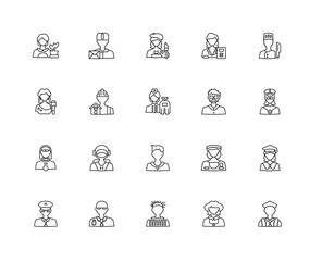 Collection of 20 Professions Jobs linear icons such as Scientist