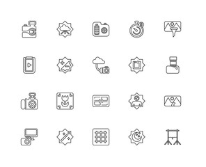 Collection of 20 Photography linear icons such as Photo camera,