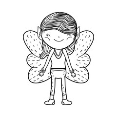 cute little fairy with butterfly wings character