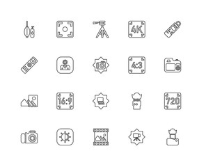 Collection of 20 Photography linear icons such as Blur, Lens, Vi