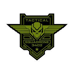 Tactical military skull squadron logo