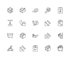 Collection of 20 Packing and Delivery linear icons such as Troll