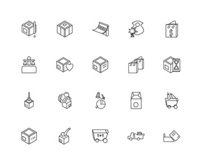 Collection of 20 Packing and Delivery linear icons such as Add,